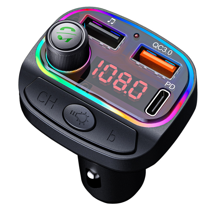 Colorful Atmosphere Light 3.1A Type-C car charger Multifunction BT FM Transmitter For Car