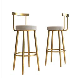 Скандинавский высокий стул для дома и кухни, современный стиль, роскошный металлический высокий стул для ожидания в отеле, бархатный стул розового цвета, высокий стул