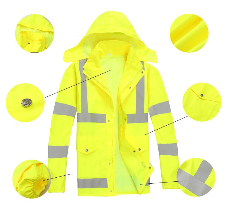 Оптовая продажа, уличная новая флуоресцентная желтая защитная Светоотражающая одежда, толстовки с капюшоном, мужские куртки, штаны, комплект курток