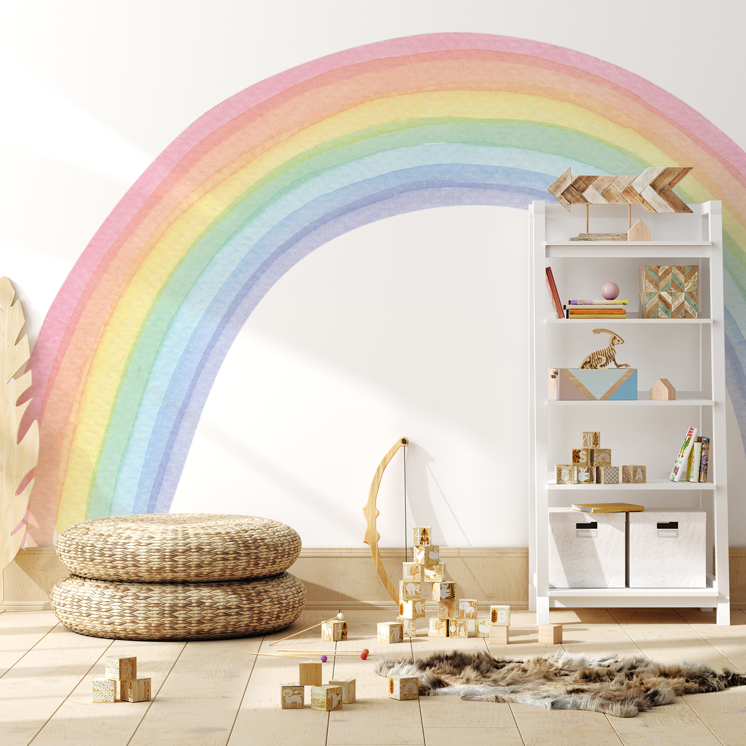 Funlife Fabric Wall Murals Watercolor Rainbow Mural Sticker Wall Fabric for Bedroom