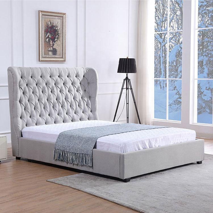 Simple custom king size modern fabric bed with high headboard