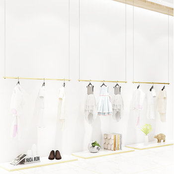 2019 online shopping modern garment shop furniture design, clothing store hanging clothes metal adjustable hanger for showroom*
