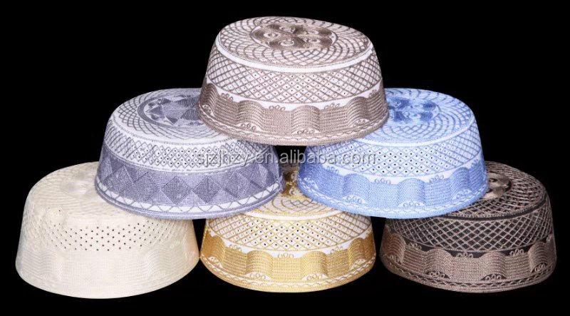 High quality customized islamic prayer hat fashion cotton men muslim hat Namaz Beanie Embroidery Hat for Men wholesale