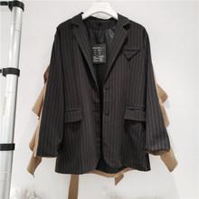 [EAM] Женский блейзер в черную полоску, с оборками, большой размер, новинка, с отворотом, с длинным рукавом, свободный крой, куртка, мода весна-о...(Китай)