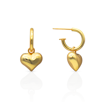 Chris April korean version fashion luxury 925 sterling silver gold plated heart shape pendant dangle dropping earrings for women