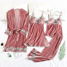 Женская бархатная Пижама JULY'S SONG, комплект из 4 предметов, теплая Сексуальная кружевная Пижама, зимняя ночная рубашка, домашняя одежда, 2019(Китай)