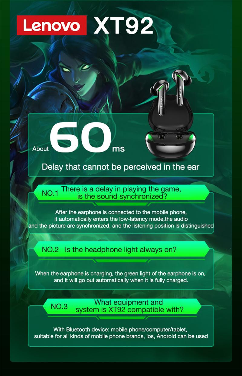 Lenovo XT92 Gaming Snake Bluetooth Earphone Wireless 8