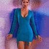 כחול-ארוך שרוול שרוך ruched שמלה