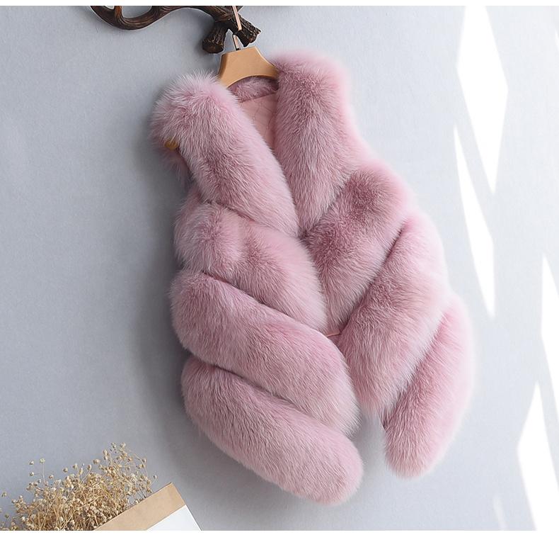 FF035 High end Classic Style Women Artificial Fur Vest Plush Faux Fur Gilet Vest Women