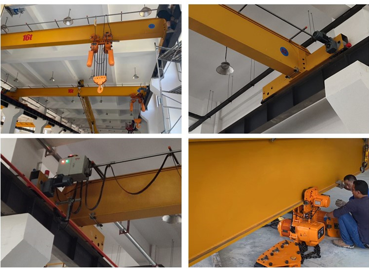 Top high end 16 ton Europe style single beam overhead crane with DRS wheel blocks and electric chain hoist in workshop price for hot sale