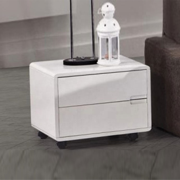 Stylish modern home furniture white movable wooden side table with four pulleys