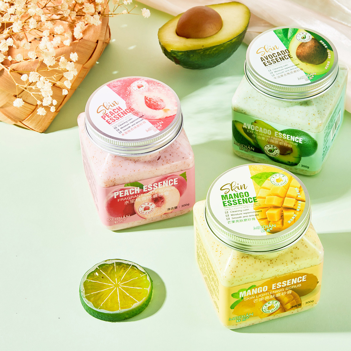 Private Label Natural Organic Vegan Fruit Avocado Mango Peach Moisturizing Exfolianting Face Body Scrubs