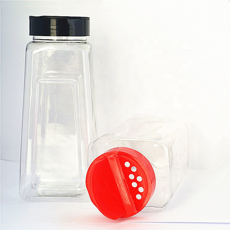 wholesale kitchen empty PET plastic spice jar and lids pepper bottle condiment customized seasoning shaker