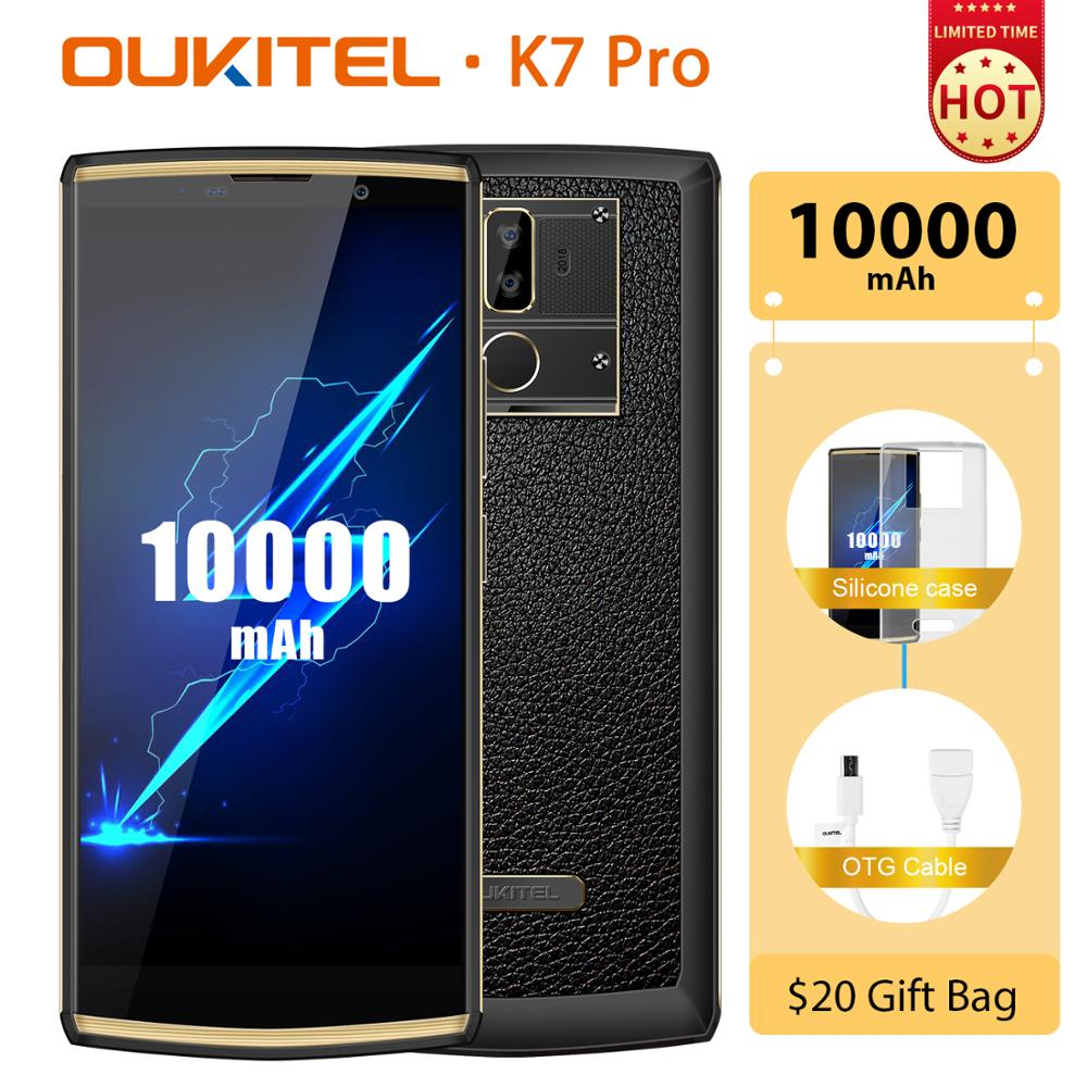 2019 Newest design OUKITEL K7 PRO 6.0 inch Android 9.0 smartphone FHD+ screen 10000mah battery 9V/2A fast charge 4G mobile