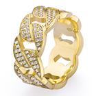 Iced Out Cubic Zirconia Cuban Ring Men Women Prong 14k 18k Solid Gold Plated Cuban Libk Chain Ring CZ Diamonds Cuban Link Ring