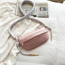 Модная женская кожаная тканая цепь на молнии, сумка через плечо, нагрудная сумка, поясная сумка для женщин #15(Китай)