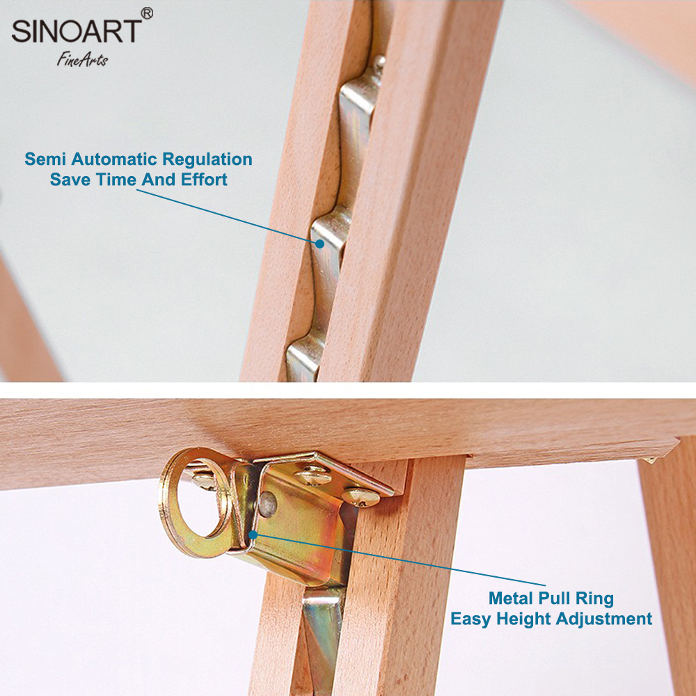 SINOART In Stock Wooden Lyre Easel Advertising Display Stand Sketch Easel Hold canvas up to 127cm