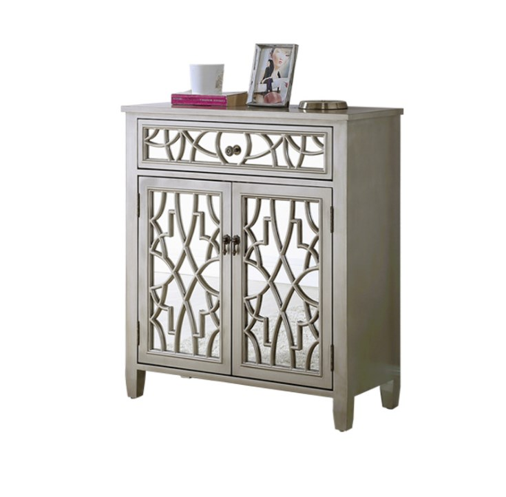 Nordic Mirror Cabinet Light Luxury Glass Wood Carving Pattern Storage Antique Console Cabinet Living Room