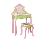 Children Furniture Kids Amazon Supplier Children Furniture Dressing Table Kids Vanity Stool Dressers Bedroom Vanity Table
