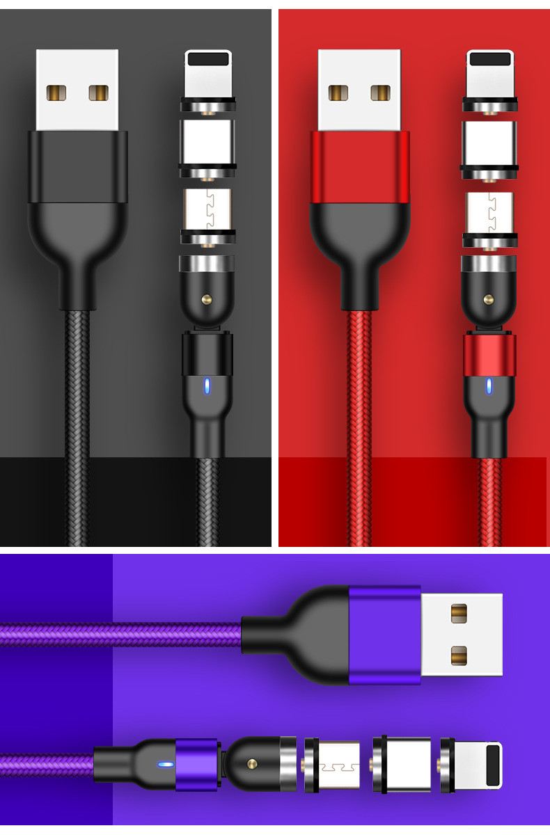 Wholesale 3 in 1 Magnetic Charging USB Cable Charger 540 Degree Rotation data cable For Iphon/Micro USB Type C