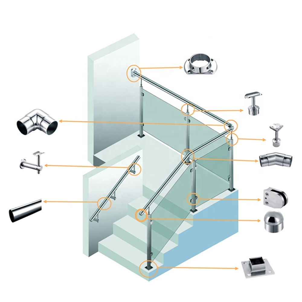 stainless steel handrail glass balustrade fittings staircase balcony glass railing accessories