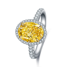 Ring S925 Sterling Silver Luxury 2.0CT Moissanite Rare Pigeon Egg Shape Yellow Diamonds Ring Engagement Wedding Party Jewelry