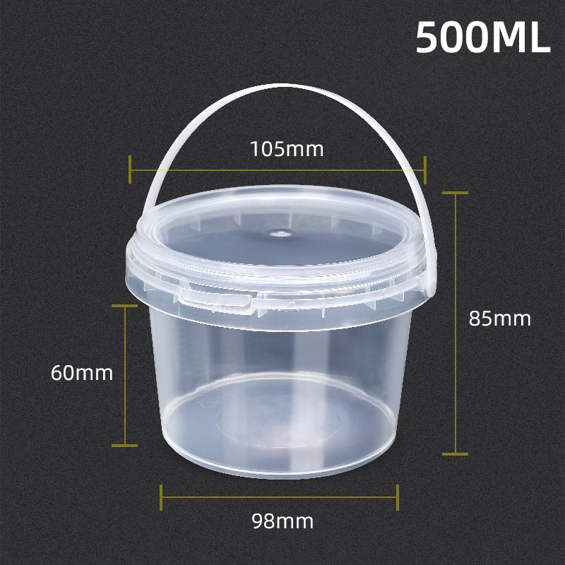 Заводской высококачественный дешевый пластиковый контейнер 500 мл для мороженого с зеленой крышкой и ручкой
