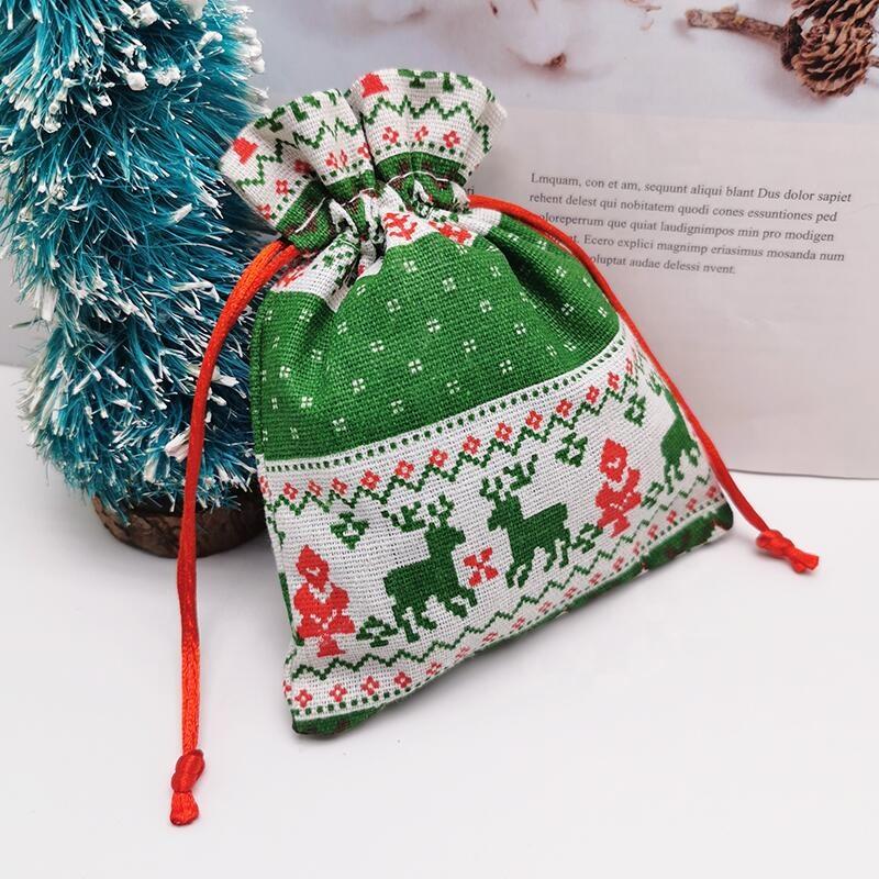 High Quality Custom Printed Pouches Bag Drawstring Logo Bag Christmas Gift Bags