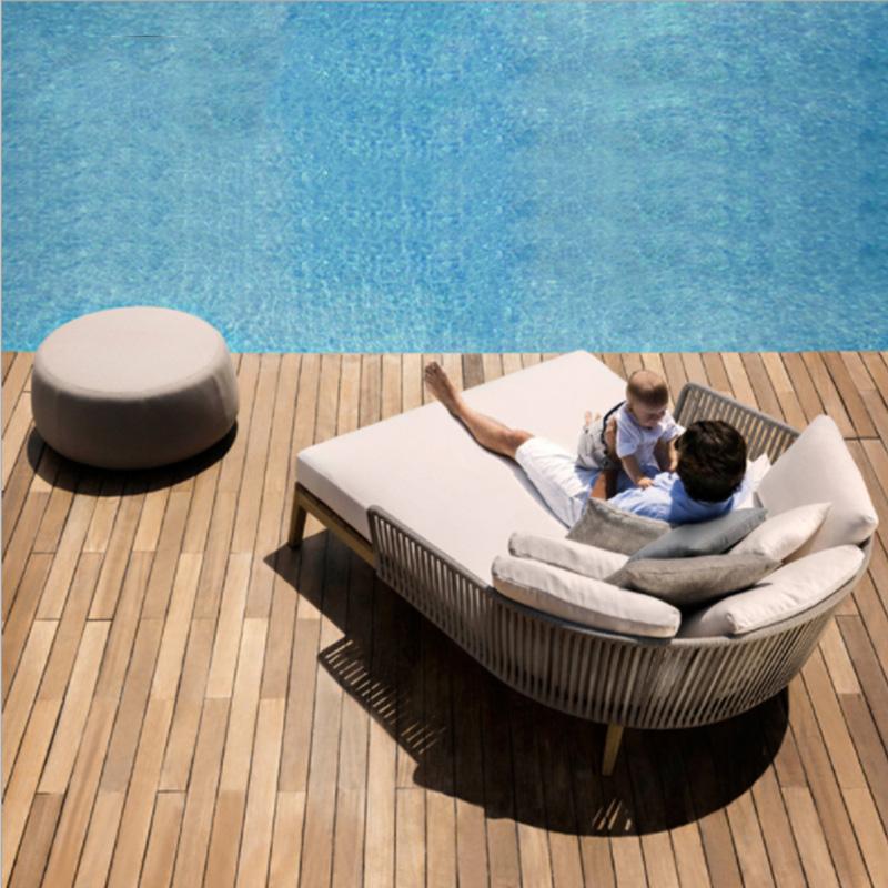 Современная Водонепроницаемая тканевая садовая мебель из ротанга, уличный Набор садовых ротанговых диванов