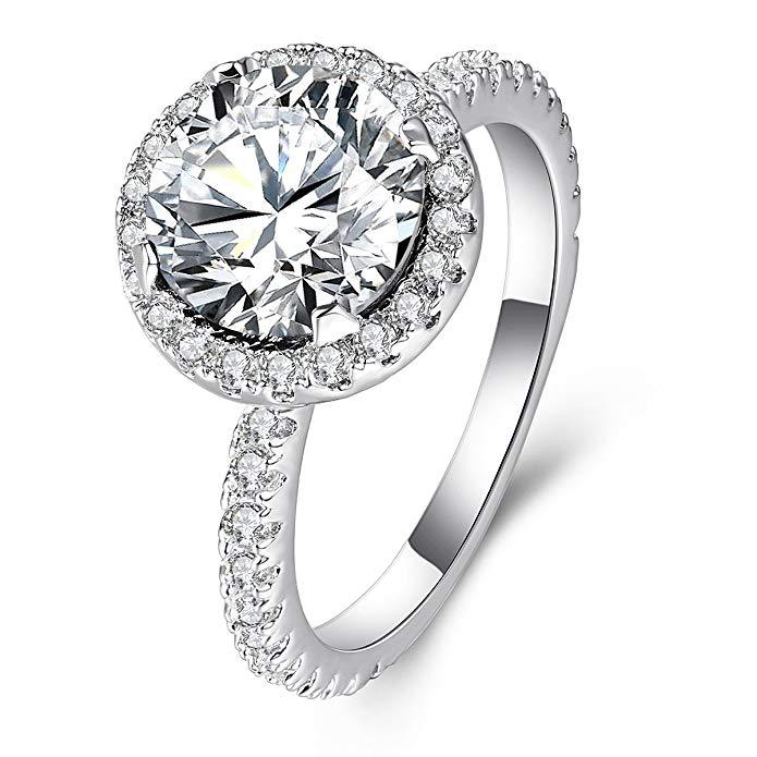 Silver color Jewelry Round Diamond Ring www.1mrk.com
