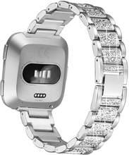 Браслет с бриллиантами для Fitbit Versa, ремешок из нержавеющей стали, женский браслет на запястье для fitbit lite/verse, 2 ремешка, аксессуары(China)