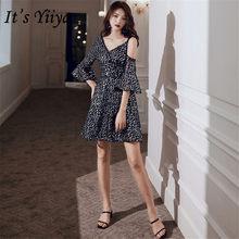 Женское вечернее платье It's Yiiya, черное блестящее платье с v-образным вырезом и Расклешенным рукавом размера плюс, E1323(Китай)