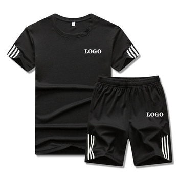 Custom logo summer sports suit men's quick-drying short-sleeved shorts loose and breathable casual running basketball training