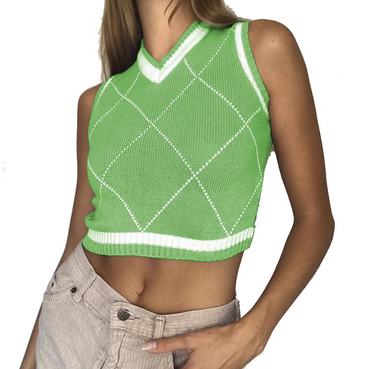 Hot Selling Argyle V Neck Knitting Crop Top Women Sweater Vest