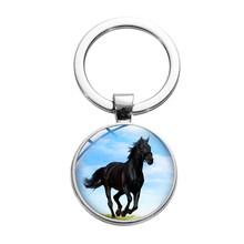 Лошадь фото ретро брелок для ключей в стиле «панк» дикая лошадь символ свободы стеклянный сплав брелок серебряное покрытие ручной работы а...(Китай)