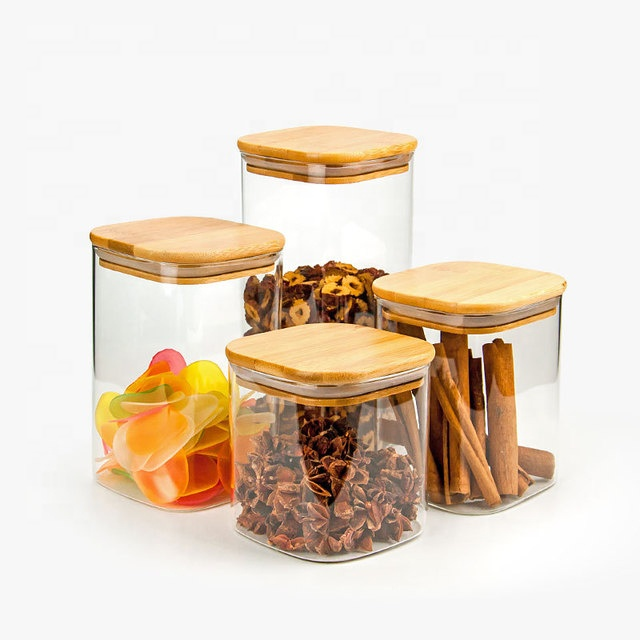 square high borosilicate glass sealed storage jars with bamboo lids kitchen food candy tea jar container with wooden lid