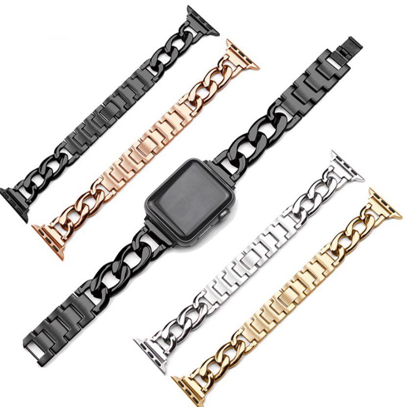 For Apple Watch Band Stainless Steel Metal Cowboy Chain Style Replacement Sports Strap Wristband