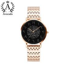 Часы авокадо класса люкс мужские, черные, арабские кварцевые часы из розового золота, сетка из нержавеющей стали с простыми часами Reloj Masculino(Китай)