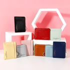 Leather Wallet Fashion Leather Wristlet Wallet Custom Logo Keychain Credit Card Holder