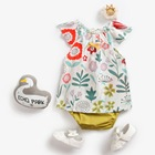 BCS8040 Wholesale adorable newborn baby clothes floral print baby outfits swing sets for girls
