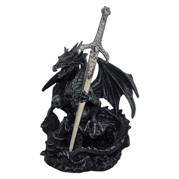 Wholesale resin home desk decor holding sword fantasy collectables figurines dragon%