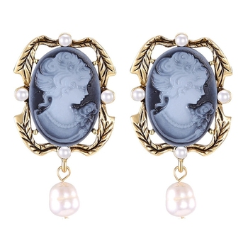 New vintage palace 3D embossed beauty head earrings