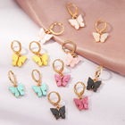 Unique design cubic zirconia 18K plated gold brass eye pendant earrings Acrylic big Butterfly hoop earrings for party girls