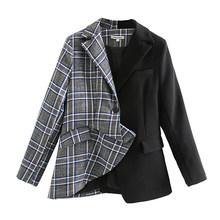 [DEAT] Женский клетчатый блейзер в стиле пэчворк, новинка, свободный пиджак с длинным рукавом и отворотом, весна-осень 2020, 13T882(Китай)