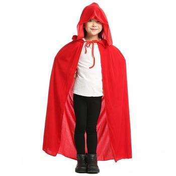 Kids Hooded Cape Long Velvet Cloak with Hood Halloween Christmas Cosplay Costumes