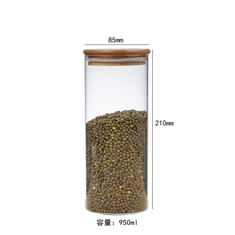 Straight Side 200ml 300ml 400ml Borosilicate Storage Glass Jar With Bamboo Lid