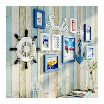 Sweet home decoration Aegean Sea Greek Style Blue And White Gallery Wall Photo family tree frame Sets