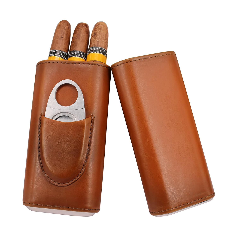 Портативный Футляр для сигар с логотипом на заказ, Дорожный Кожаный футляр для сигар с резаком для сигар, высокое качество, 3 пальца, коричневый кожаный футляр для сигар оптом