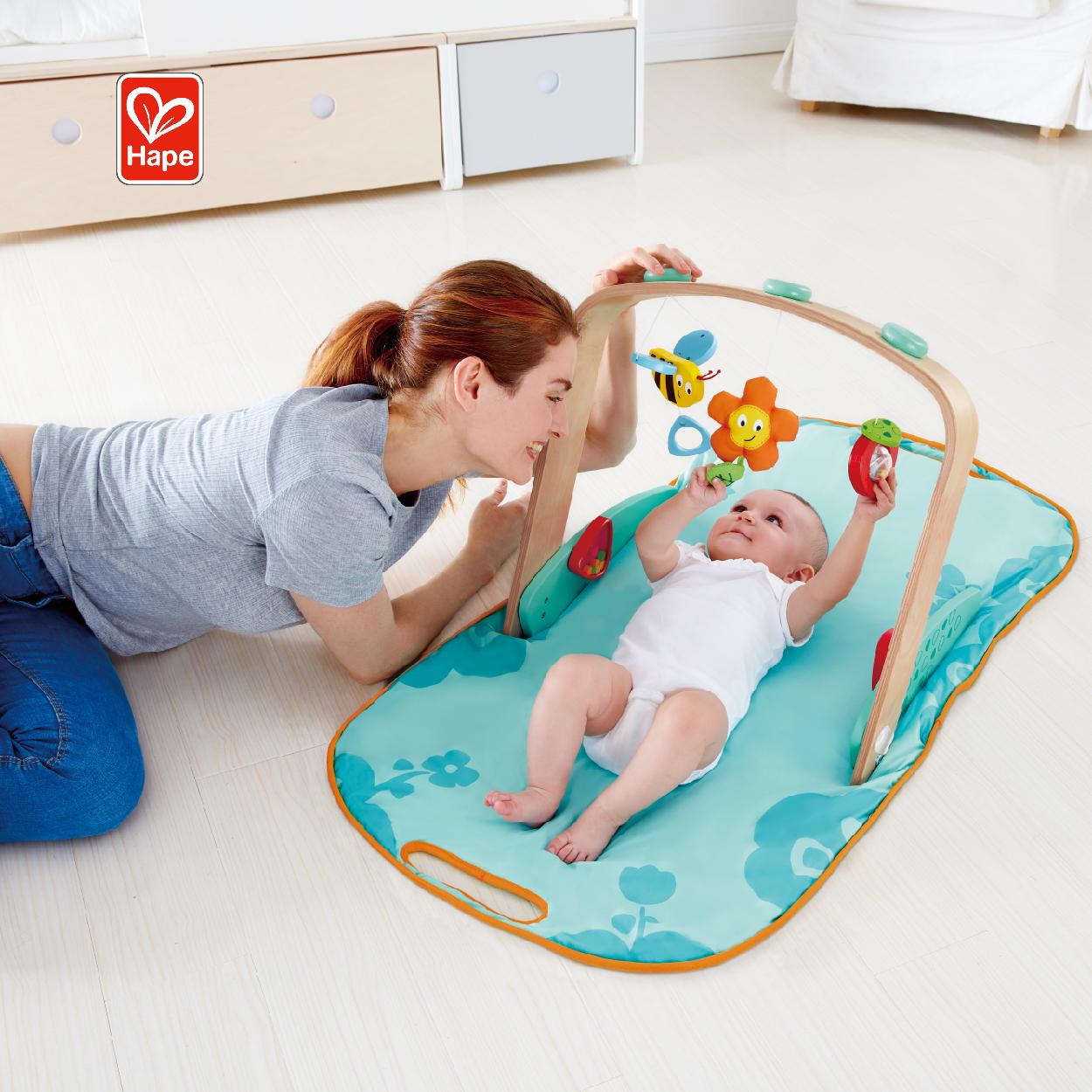 Многофункциональная сумка для новорожденных, Детский ковер для раннего обучения, портативный деревянный игровой коврик с подвесным колокольчиком