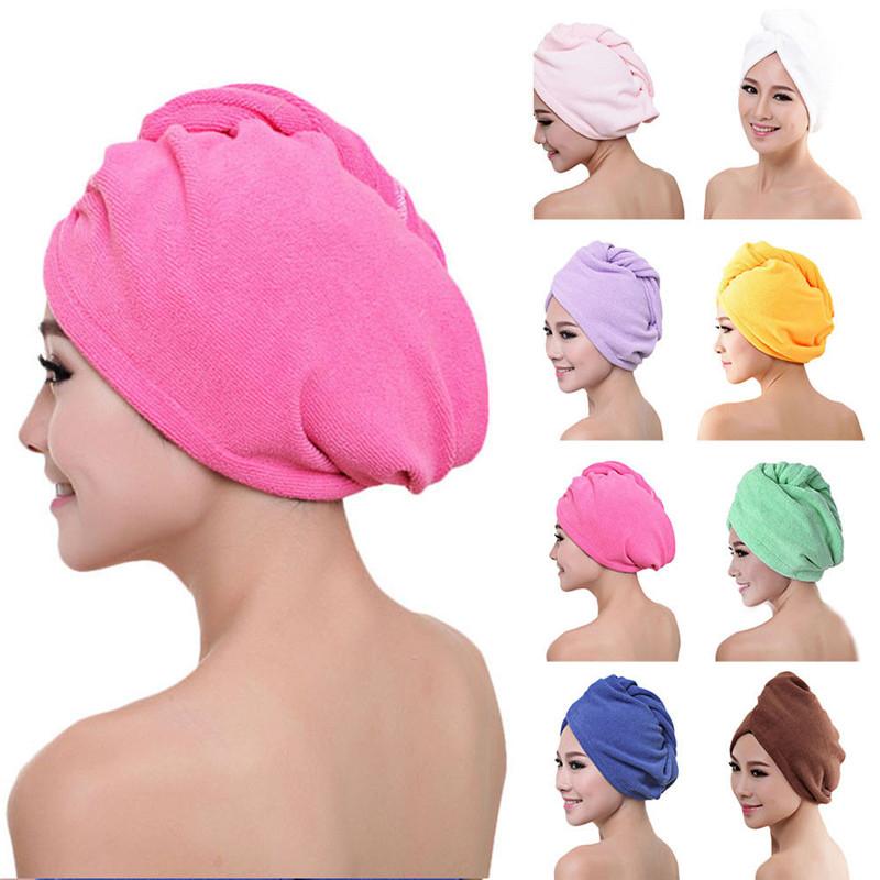 Microfiber Dry Hair Cap Quick-Drying Shower Towel Wrap Hat Hair Turban Bathroom